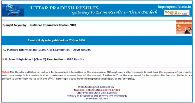 UP 12th class Result