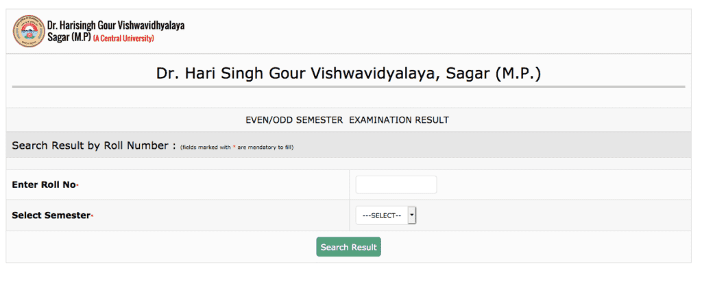 Dr. Harisingh Gour University Result 2020
