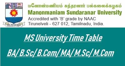 MSBU Time Table