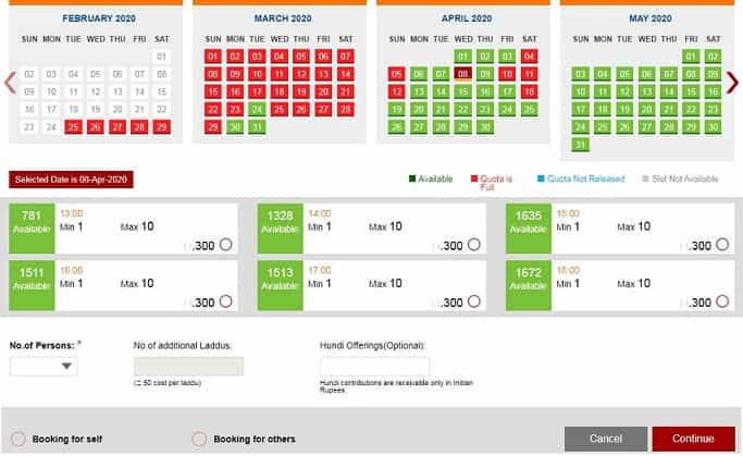 TTD 300 Rs Darshan Online Booking Availability Chart