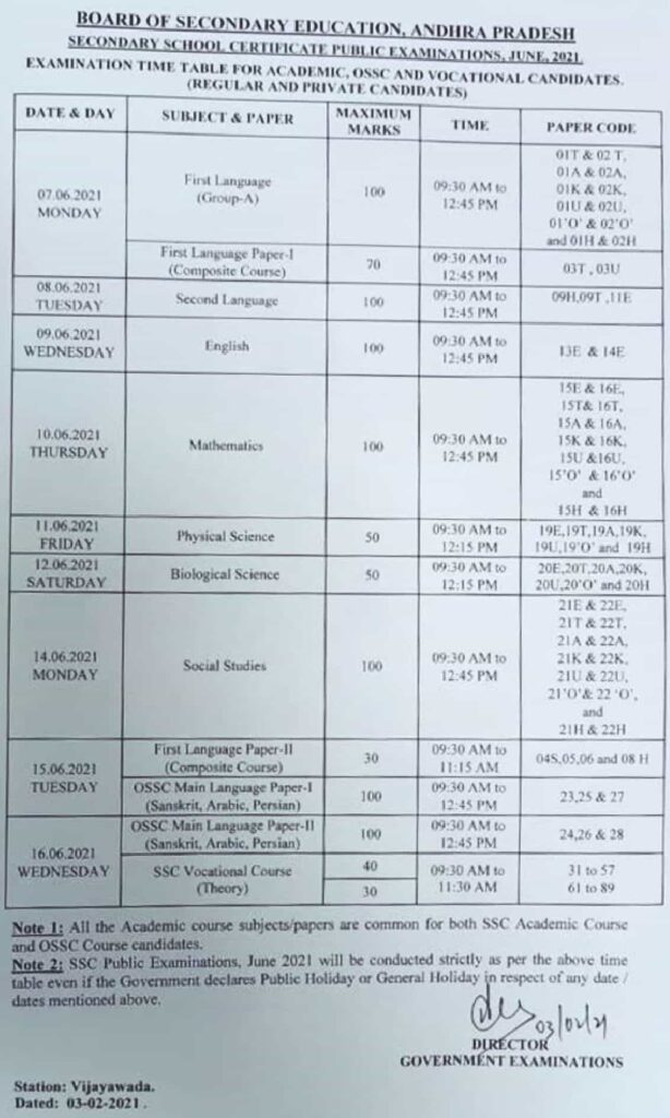 AP ssc time table 2021 out
